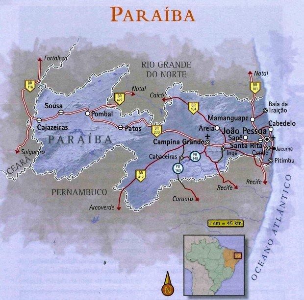 mapa Paraíba